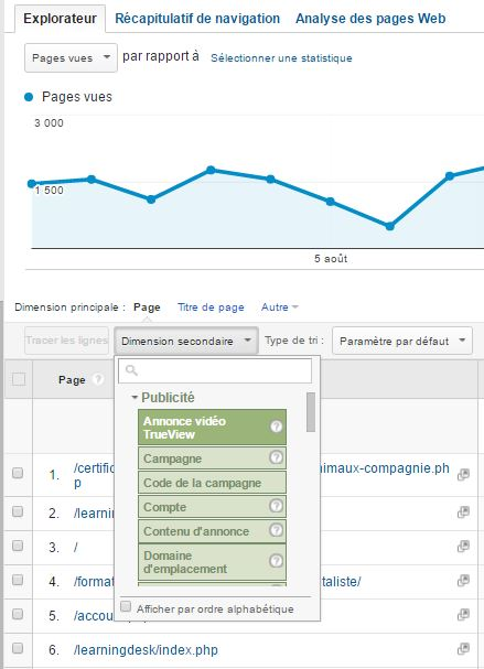 Dimensions Secondaires Adwords