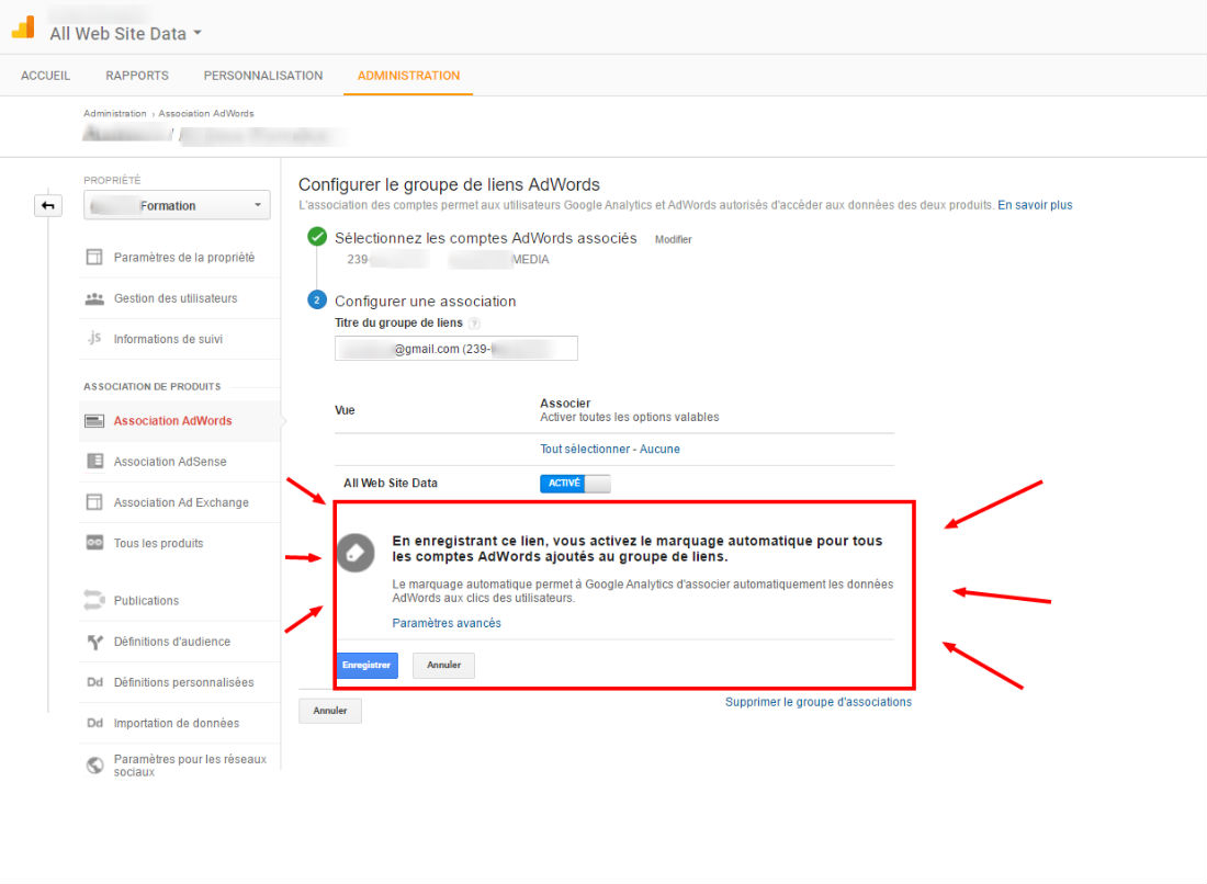 Marquage Auto Adwords Analytics