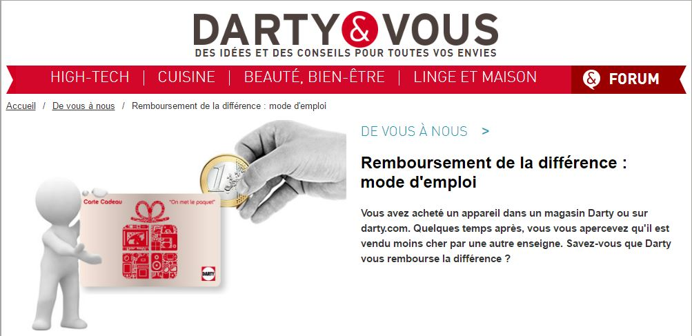 Darty rembourser la différence