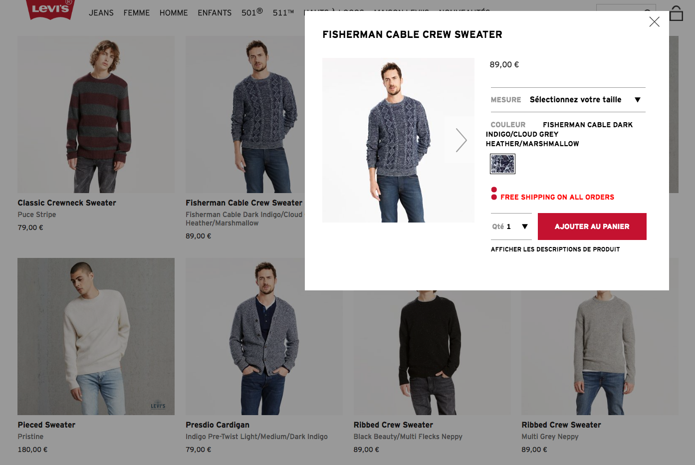 Levis integrated product page in category page