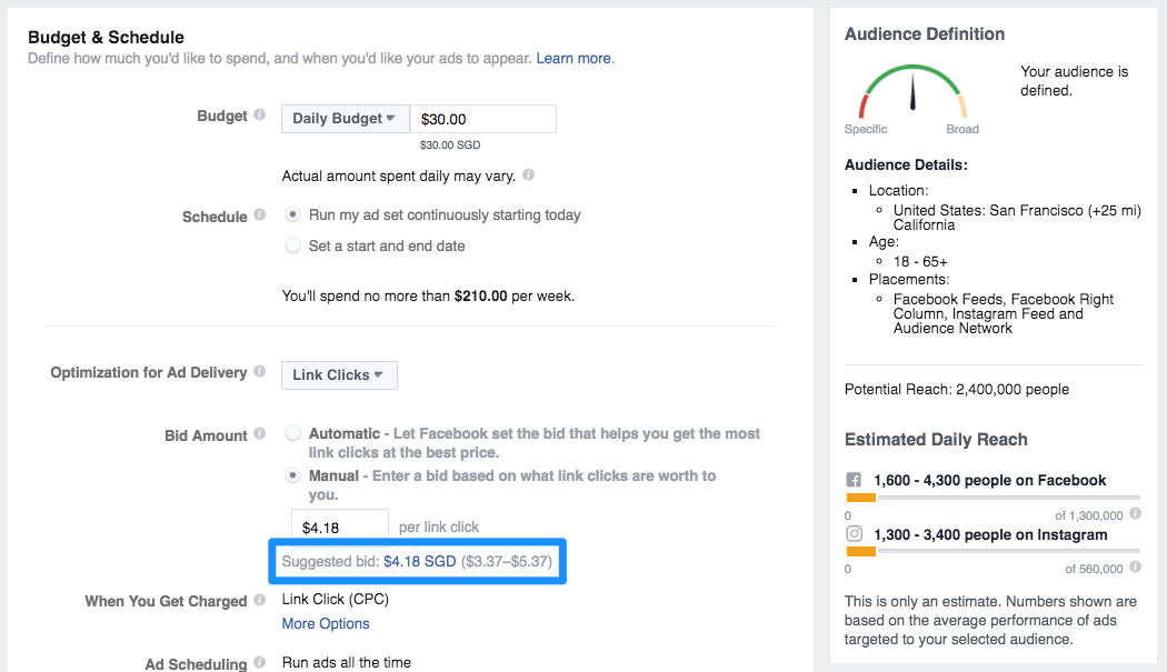 Facebook ads bid targeting