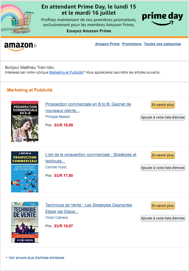 Email intentionniste Amazon