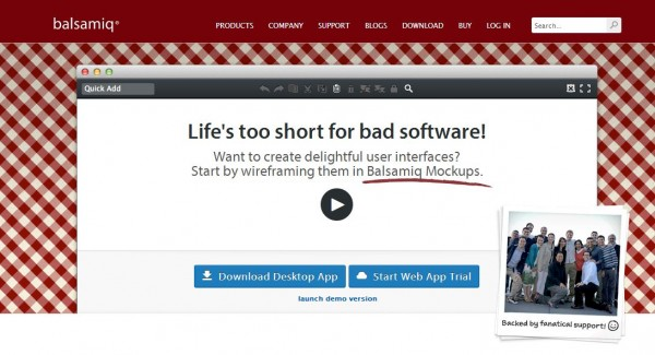 exemple landing page Balsamiq