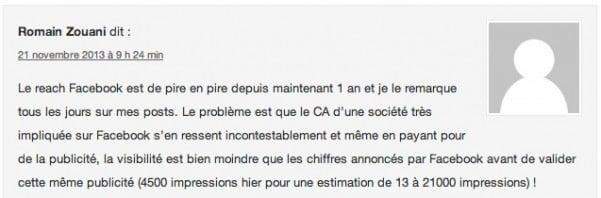 Commentaire sur emarketinglicious.fr (La Portée d'une Page Facebook Moyenne est de 12,6% [Etude])