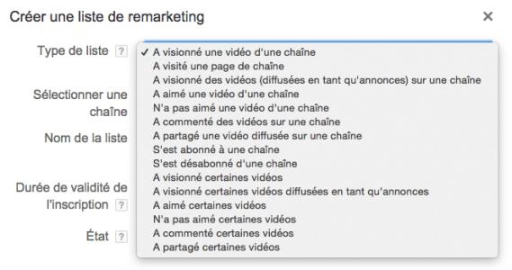 Listes de remarketing Adwords pour vidéos disponibles