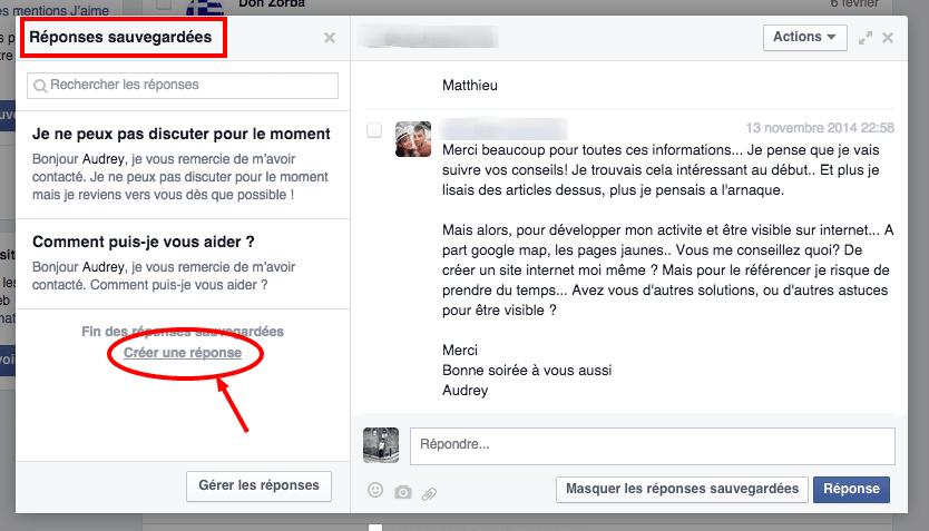 Sur la gauche, Facebook propose à l'administrateur de créer des réponses pré-enregistrées