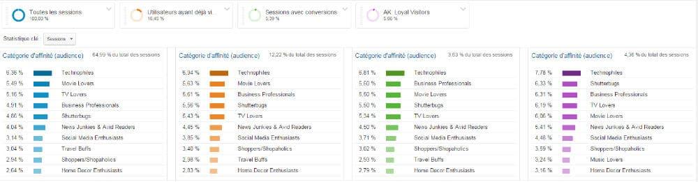 Rapport Google Analytics des catégories d'affinité de  4 segments avancés