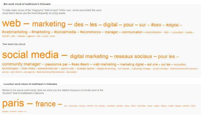 Exemple d'analyse FollowerWonk : les mots clés récurrents dans les bios de vos followers Twitter