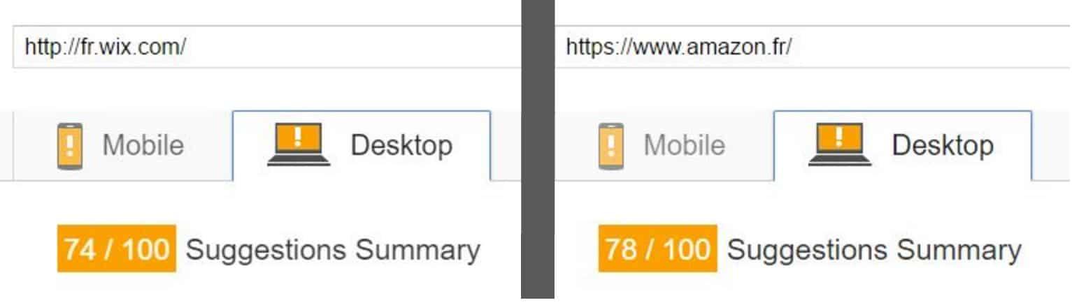 Temps de chargement Wix et Amazon