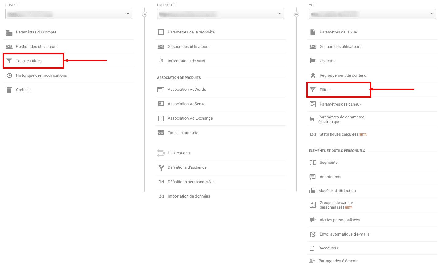 Filtres Google Analytics