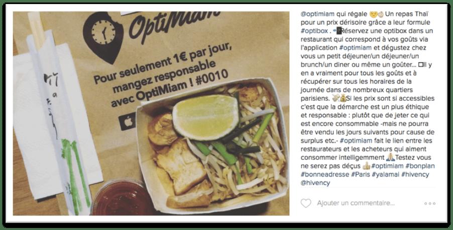 Spontanément, les passants se sont mis à relayer sur Facebook l'opération de Optimiam (cf. flyers froissés dans la poubelle plus haut) et à exprimer leur satisfaction à manger responsable pour 1€ seulement !