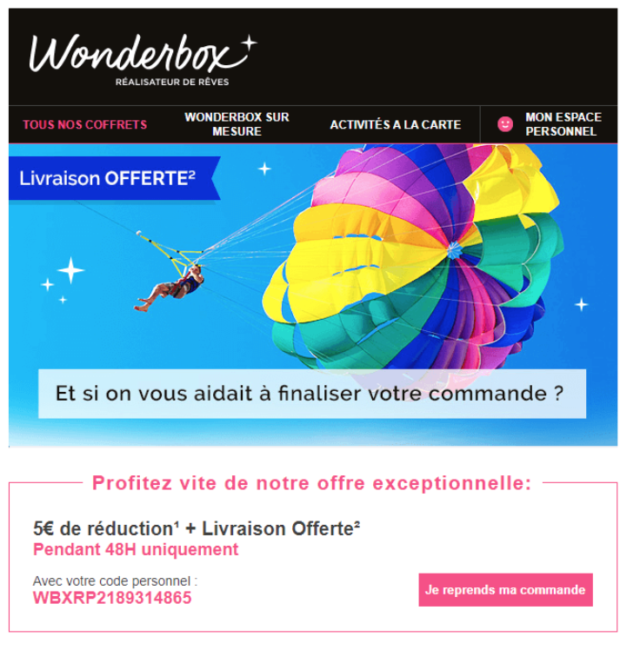 email abandon panier wonderbox