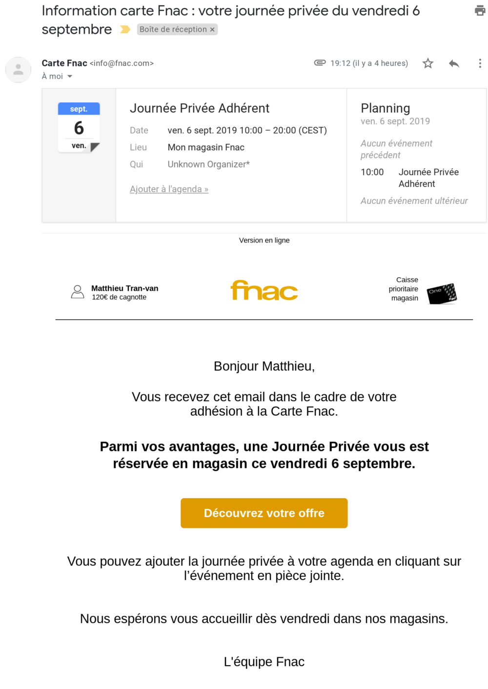 E-mail drive to store Fnac
