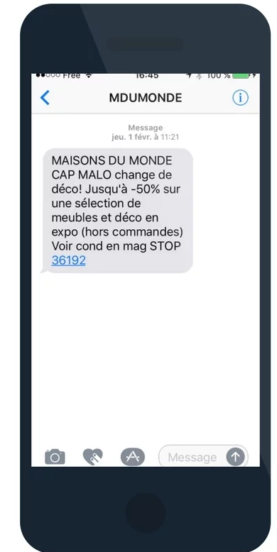 Maison du Monde Mobile To Store SMS