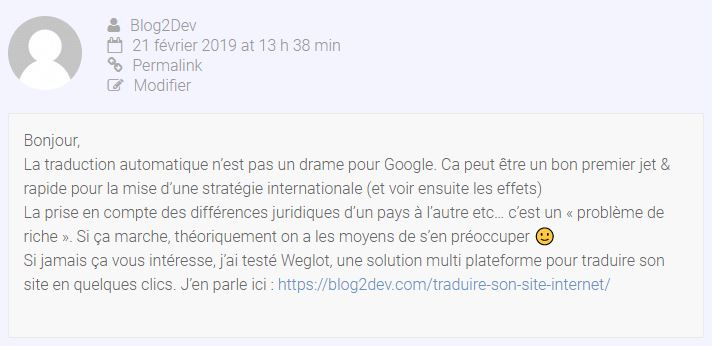 Commentaire backlink