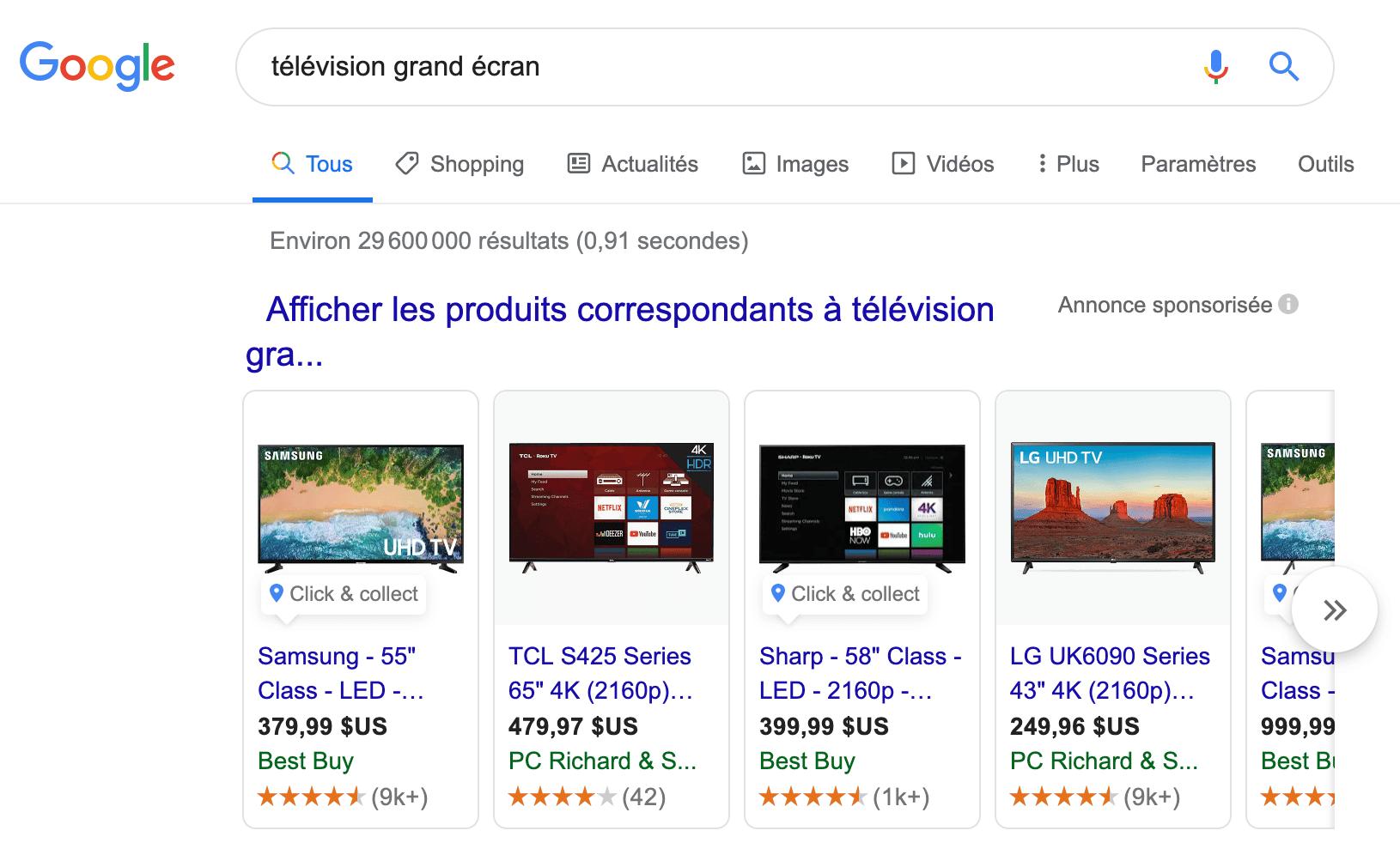 Google Shopping Exemple