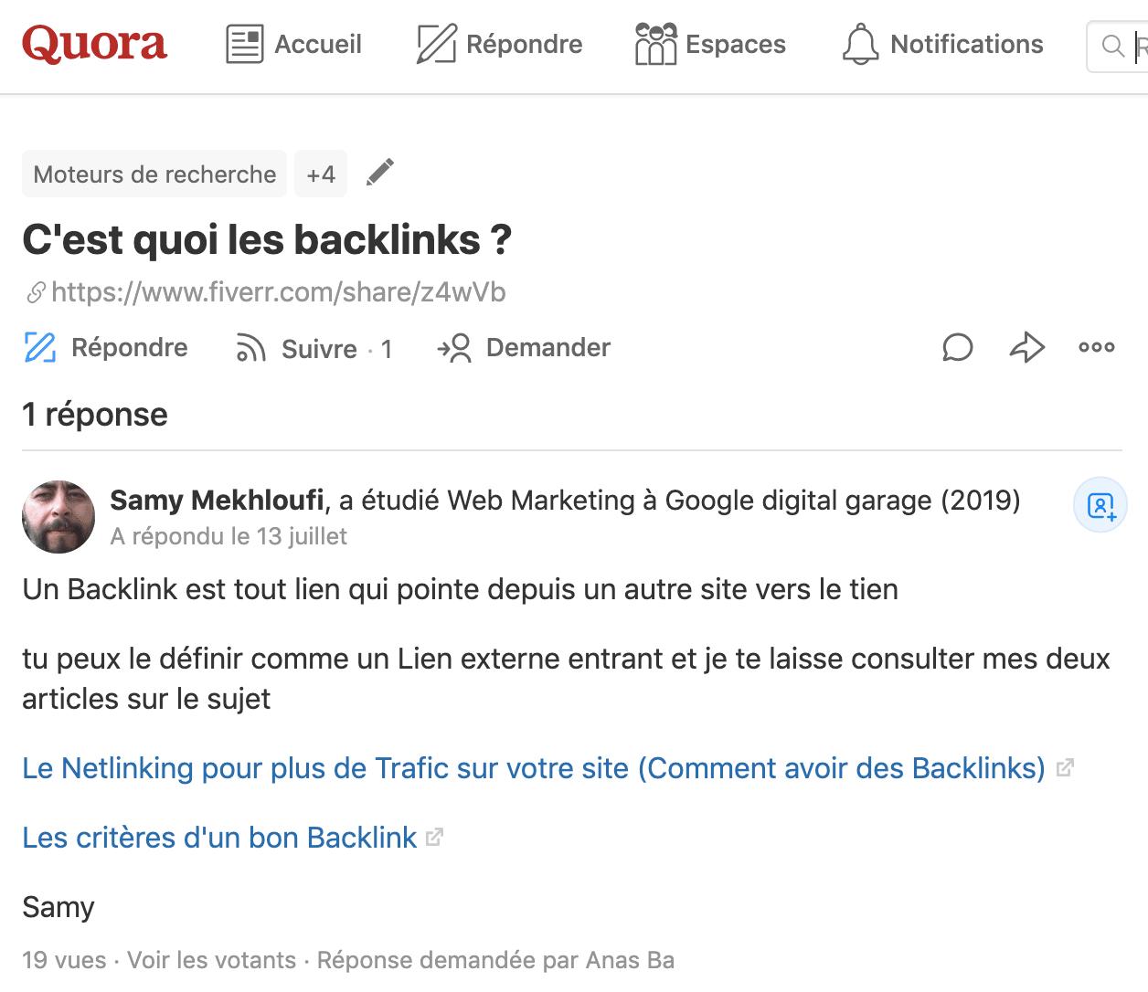 Quora question backlink