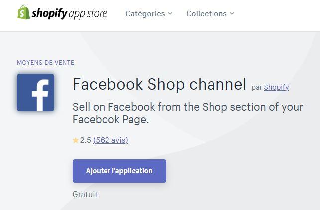 Facebook app shopify
