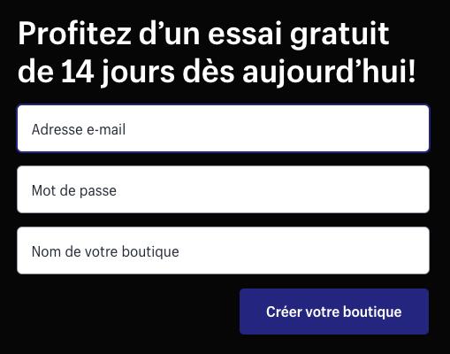 essai gratuit Shopify