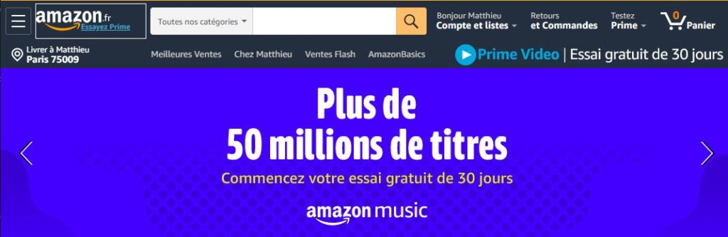 Barre de recherche Amazon