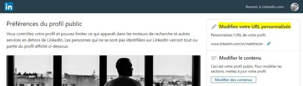 Profil Linkedin URL personnalisée