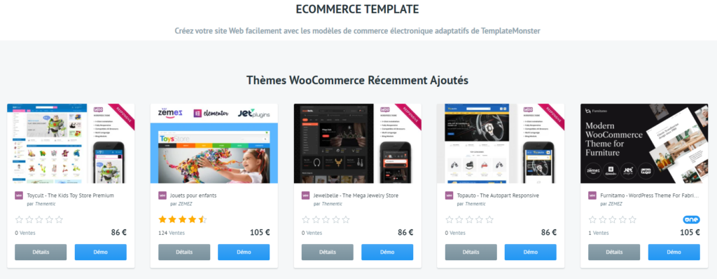 template design site e-commerce