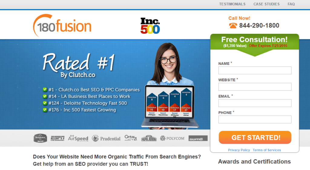 180fusion landing page