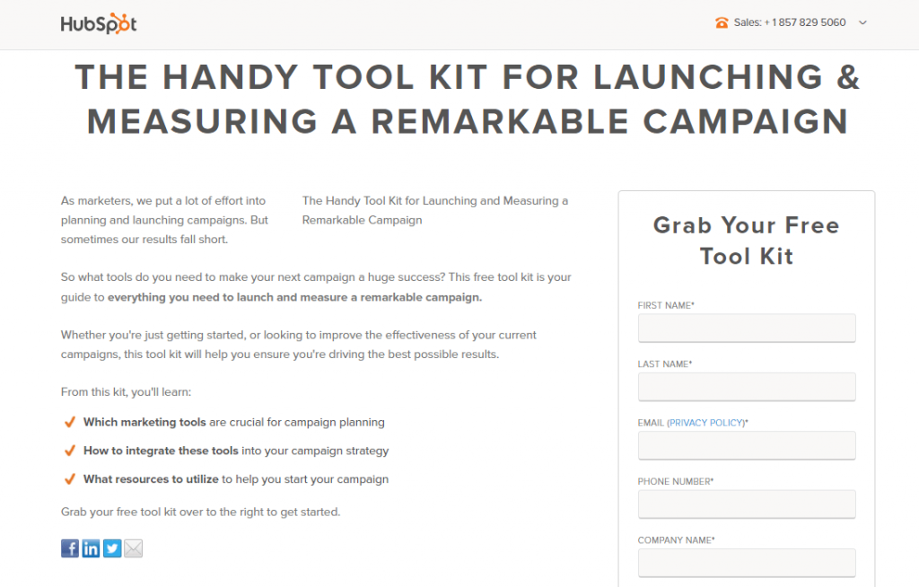 landing page hubspot exemple