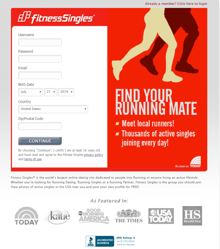 fitness single landing page