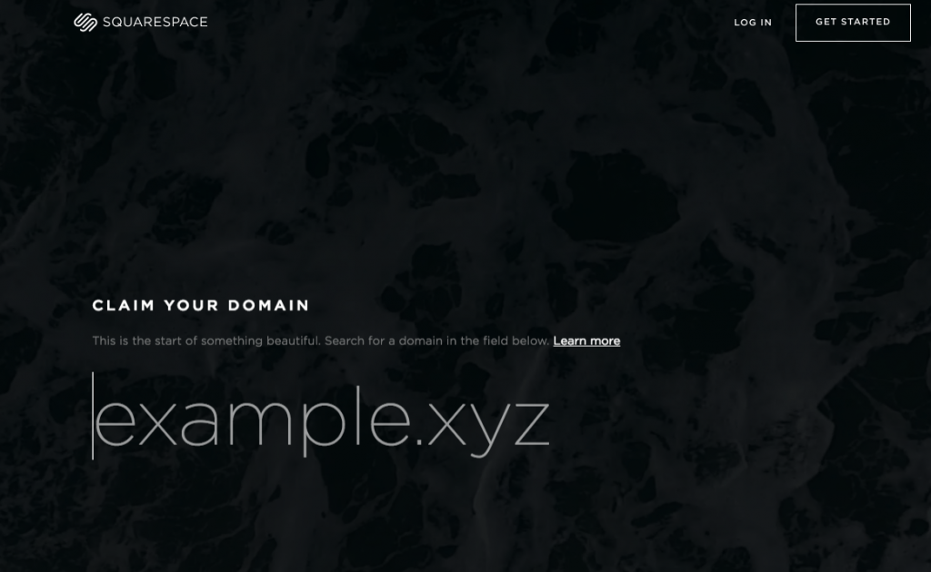 landing page exemple Squarspace