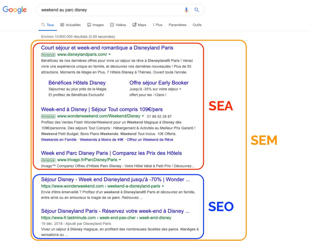 affichage SEO & SEA sur la page Google