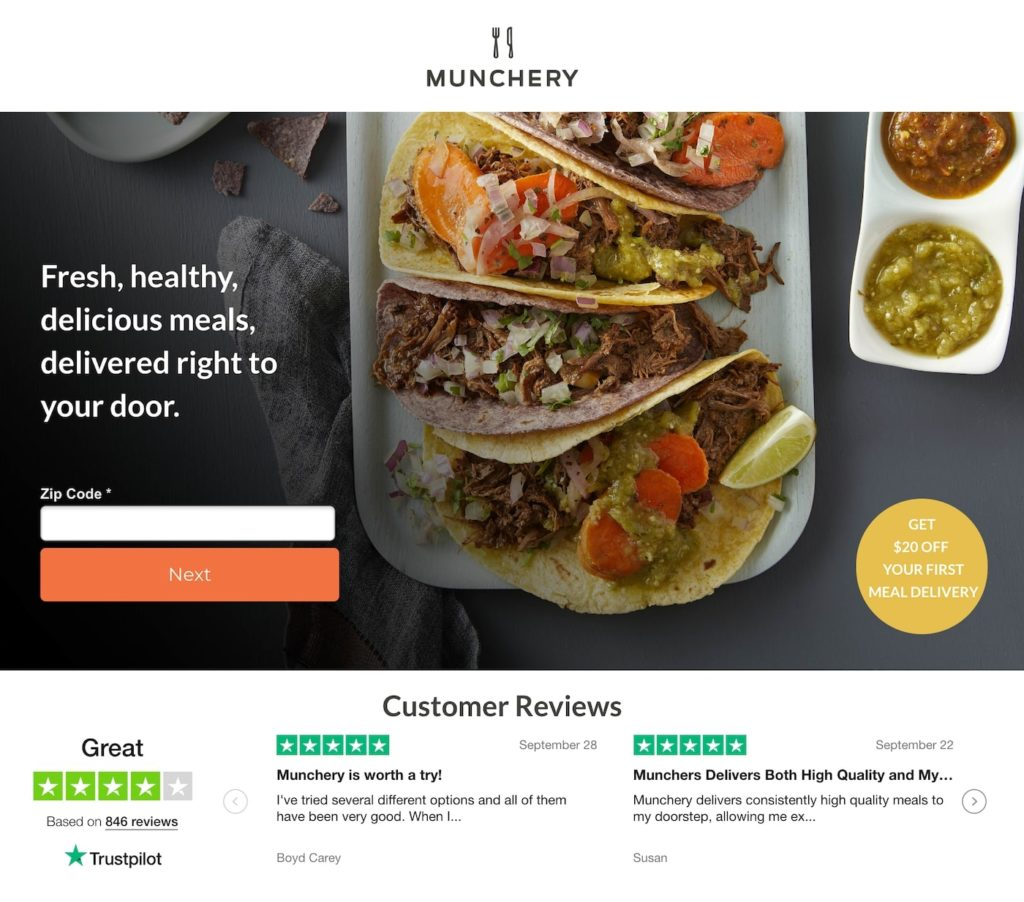 landing-page-munchery exemple