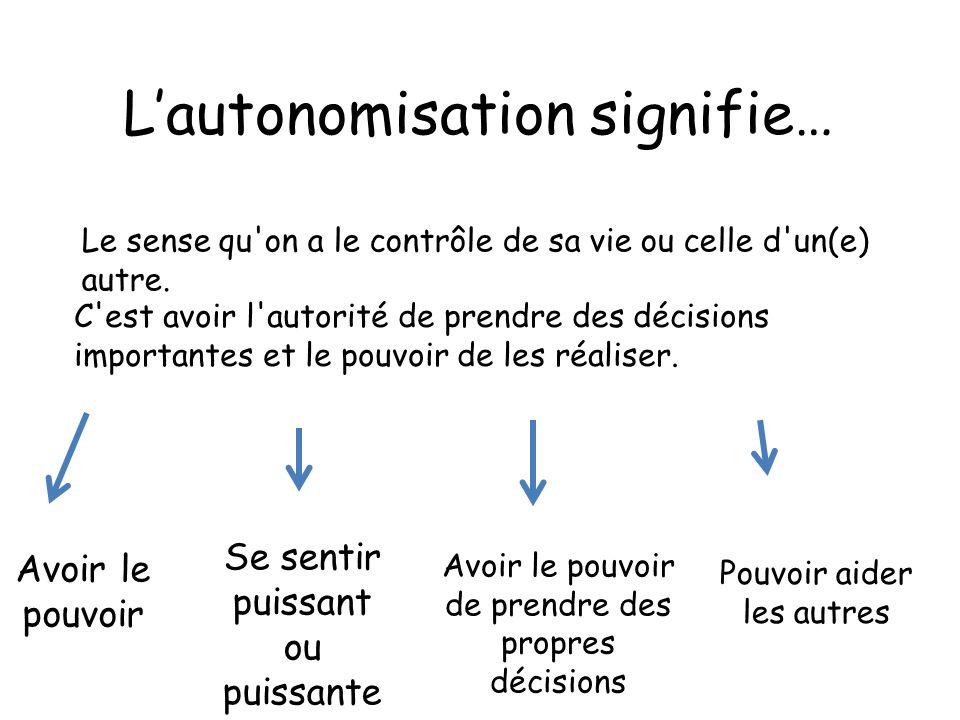 définition autonomisation