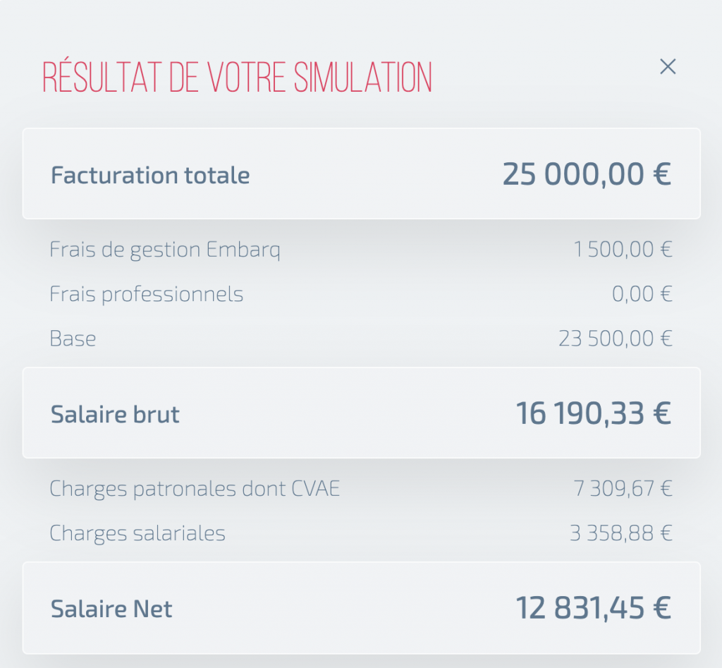 Simulation de facturation et obtention du salaire net.