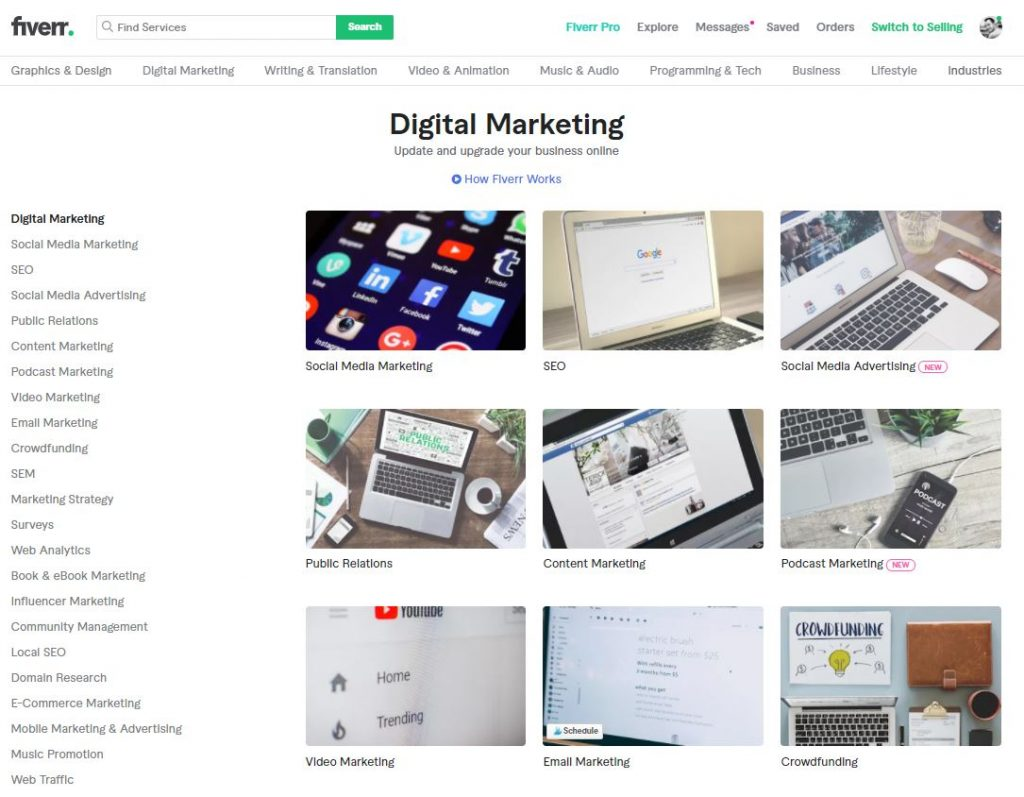 Fiverr compte  23 sous catégories différentes, avec des dizaines de freelances disponibles