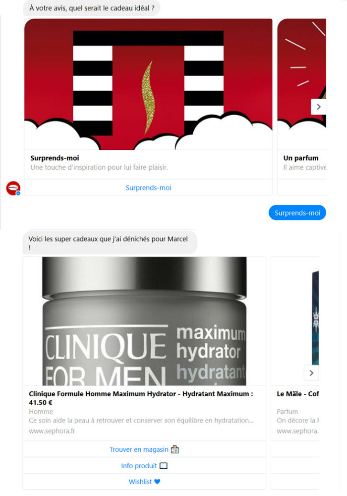 Conversion avec chatbot Sephora