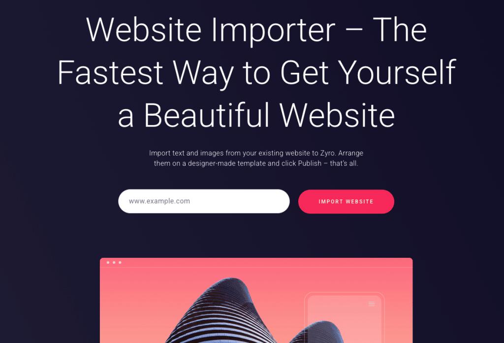 Importation de site web zyro