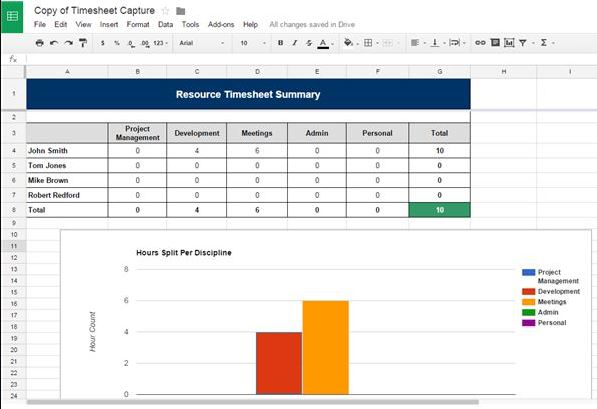 exemple reporting sur google spreadsheet