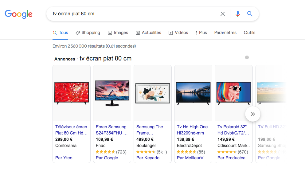 Google Shopping exemples