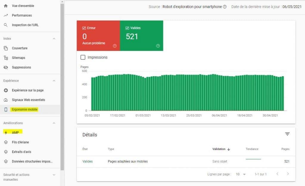 Ergonomie mobile Google Search Console