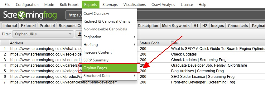 screaming frog : pages orphelines audit seo