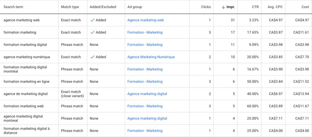 Termes de recherche dans Google Ads