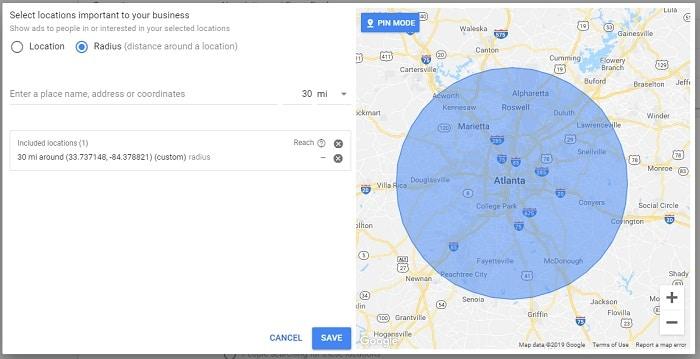 ciblage geolocalisé de publicités Google Ads