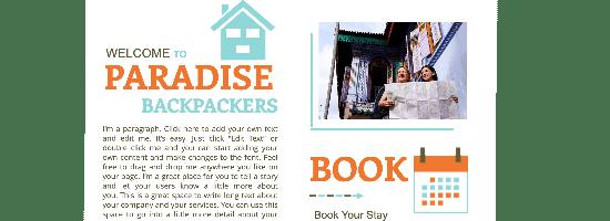 Template pour un site de réservation pour backpackers