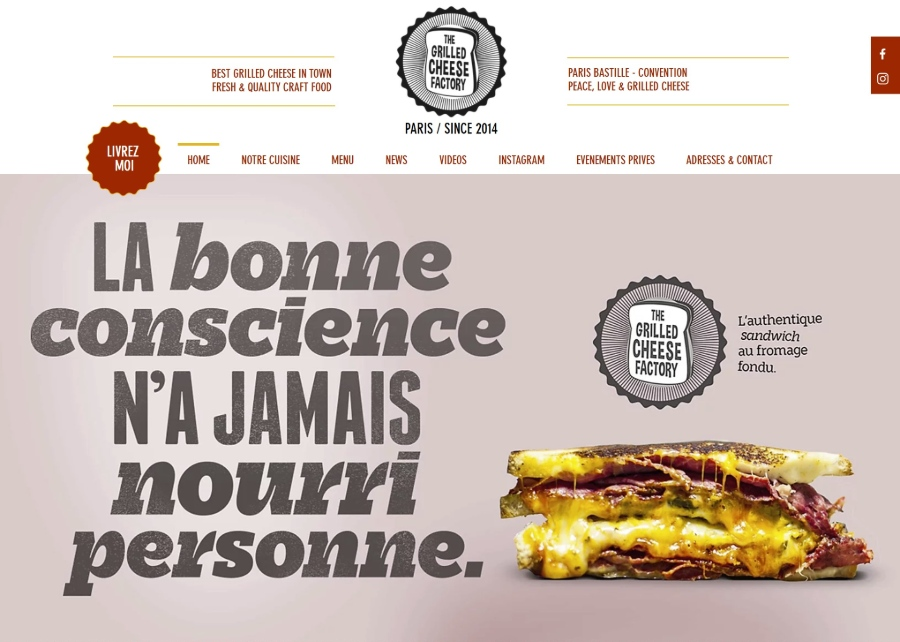 Site design Grilled cheese factory