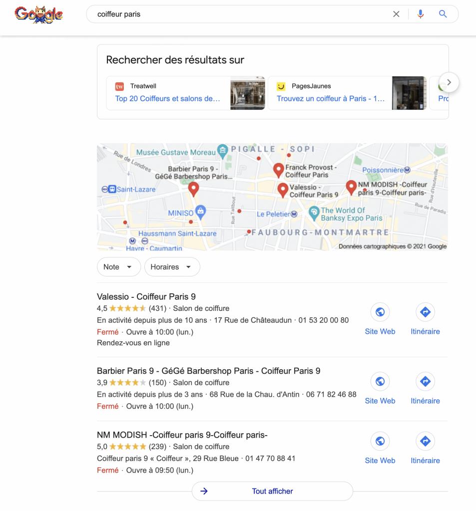 Résultats locaux sur Google