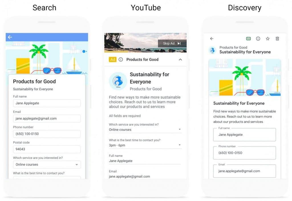 extensions d'annonce formulaire pour prospect Discovery Ads